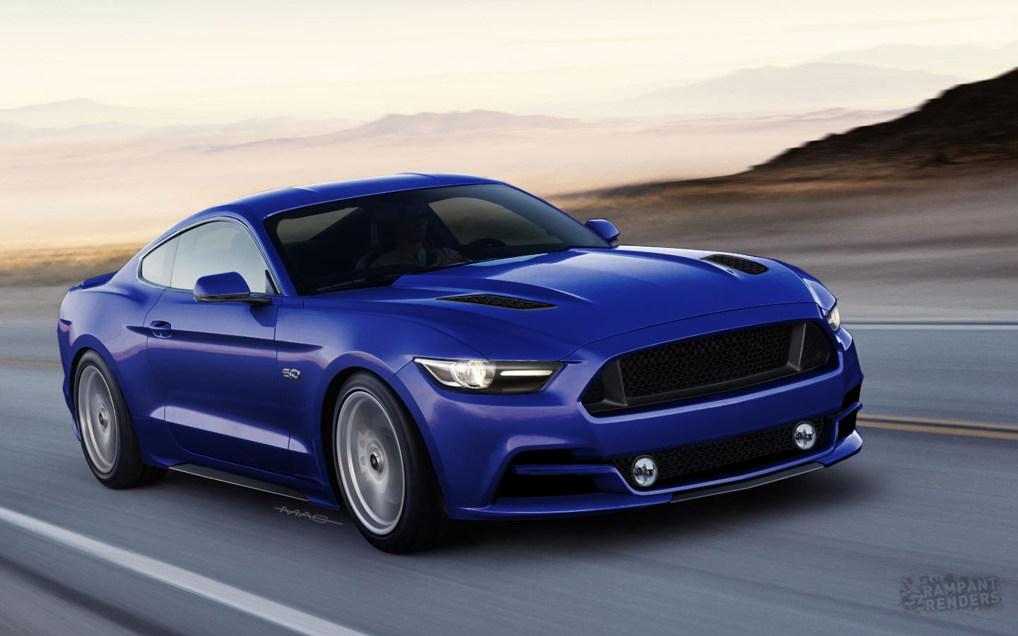 2015 ford mustang rendered with slightly different face. Black Bedroom Furniture Sets. Home Design Ideas