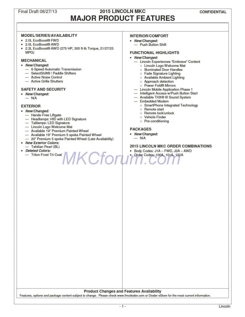 2015 Lincoln MKC Dealer Order Guide Leaked [Photo Gallery]