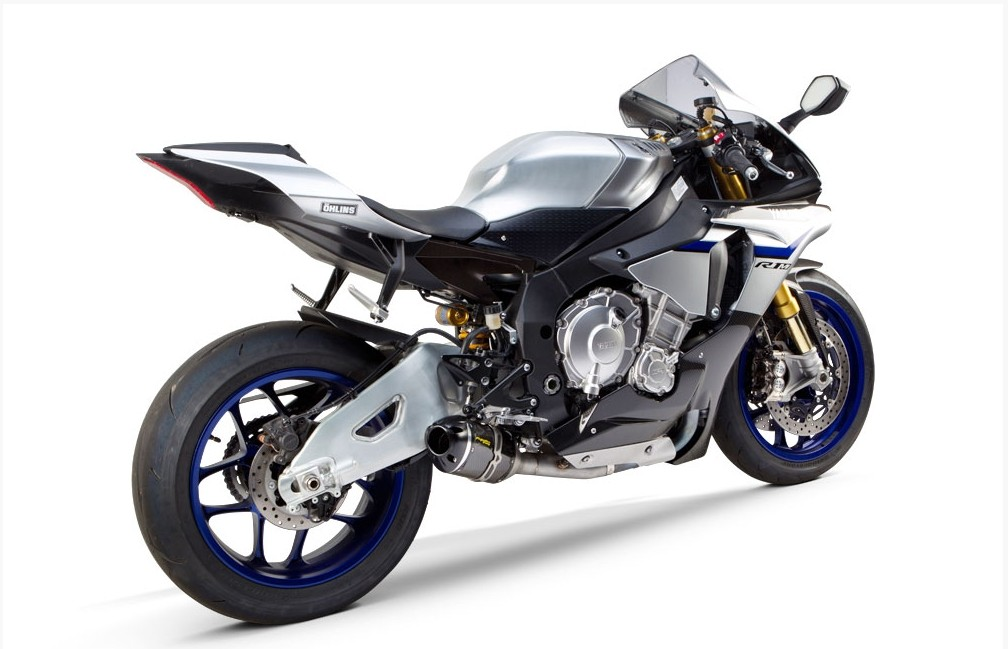 2015 Yamaha YZF R1M With TBR Exhaust Rear Quarter View