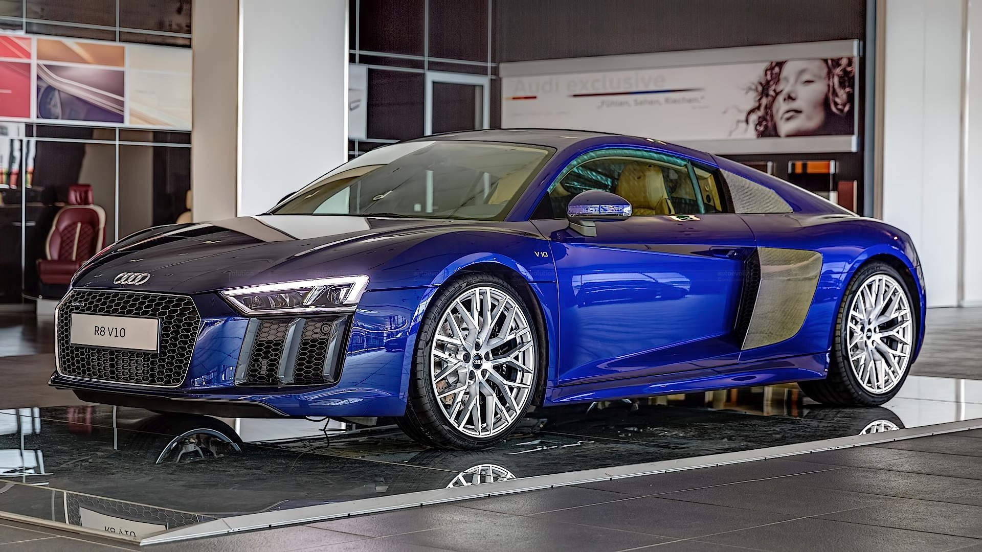 2016 audi r8 v10 gets santorini blue paint and havana. Black Bedroom Furniture Sets. Home Design Ideas