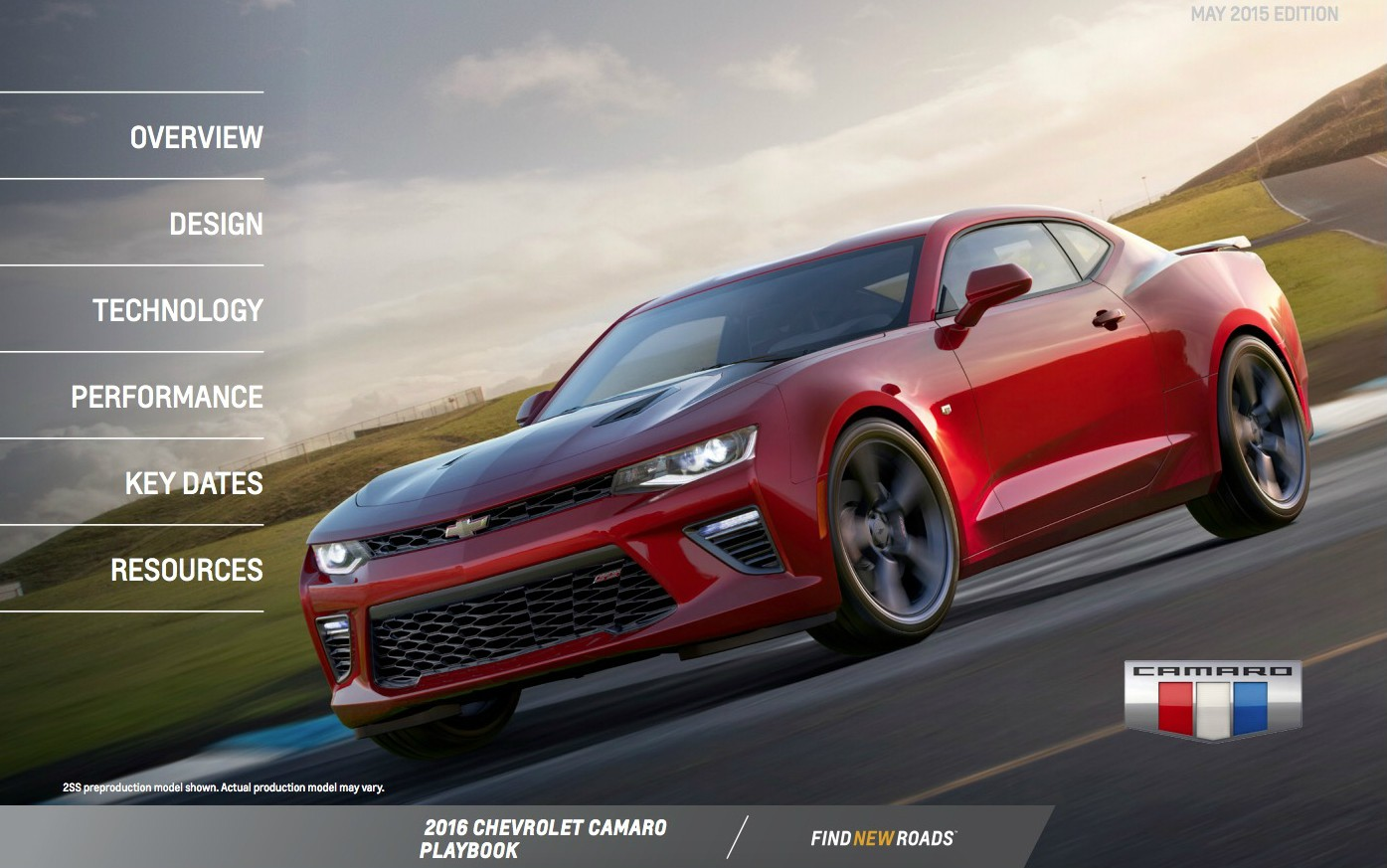 2016 Chevrolet Camaro Playbook Contains 15 Pages Of