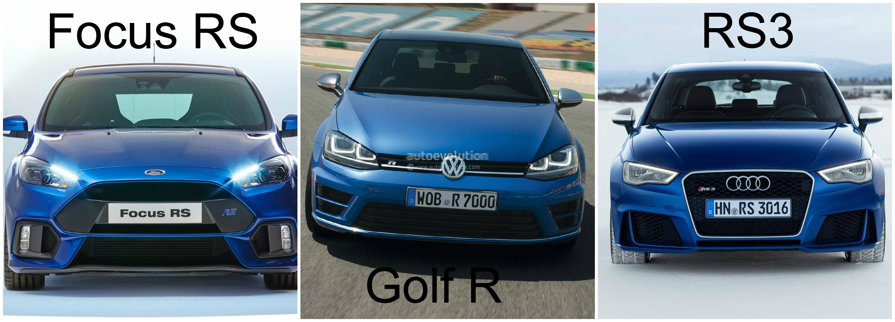 2016 Ford Focus RS vs Golf R and Audi RS3  Hyper Hatch Photo