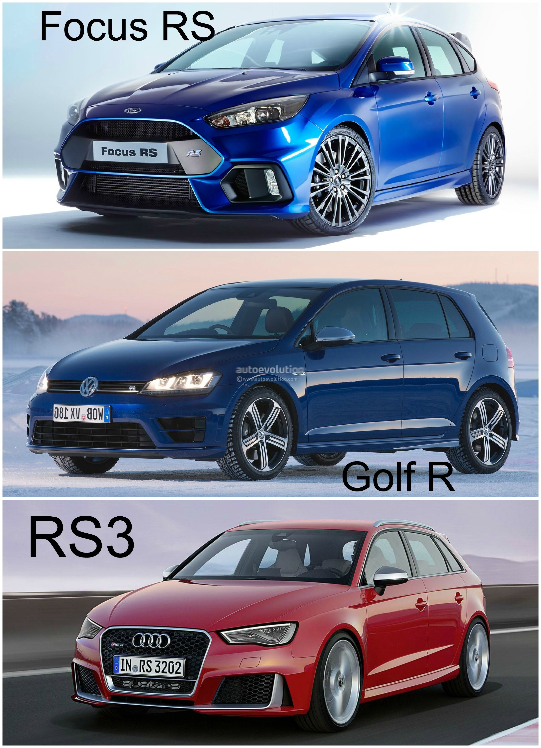 2016 ford focus rs vs golf r and audi rs3 hyper hatch photo comparison autoevolution. Black Bedroom Furniture Sets. Home Design Ideas