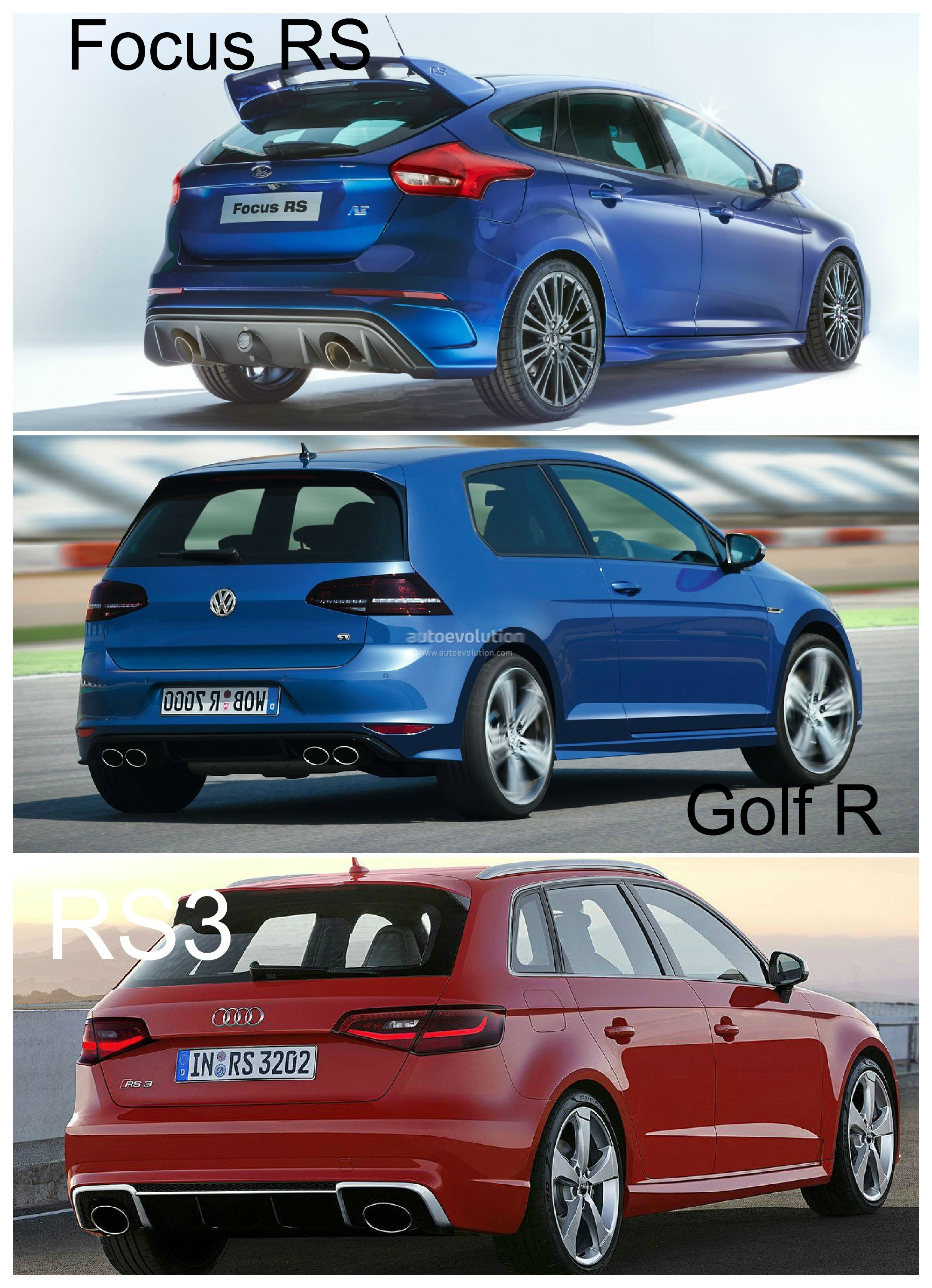 2016 ford focus rs vs golf r and audi rs3 hyper hatch photo comparison autoevolution