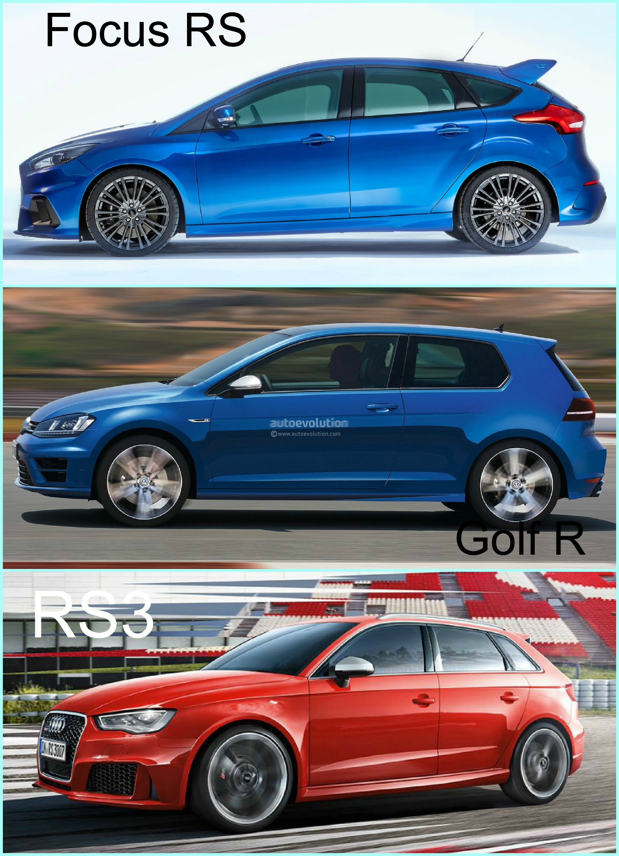 Ford Focus Awd >> 2016 Ford Focus RS vs Golf R and Audi RS3 - Hyper Hatch Photo Comparison - autoevolution
