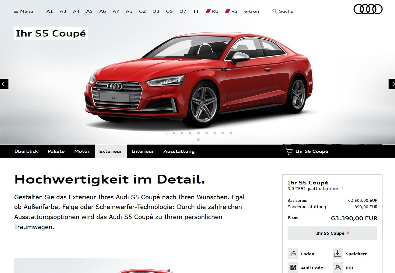 2017 Audi A5 Coupe Configurator Available S5 Starts At