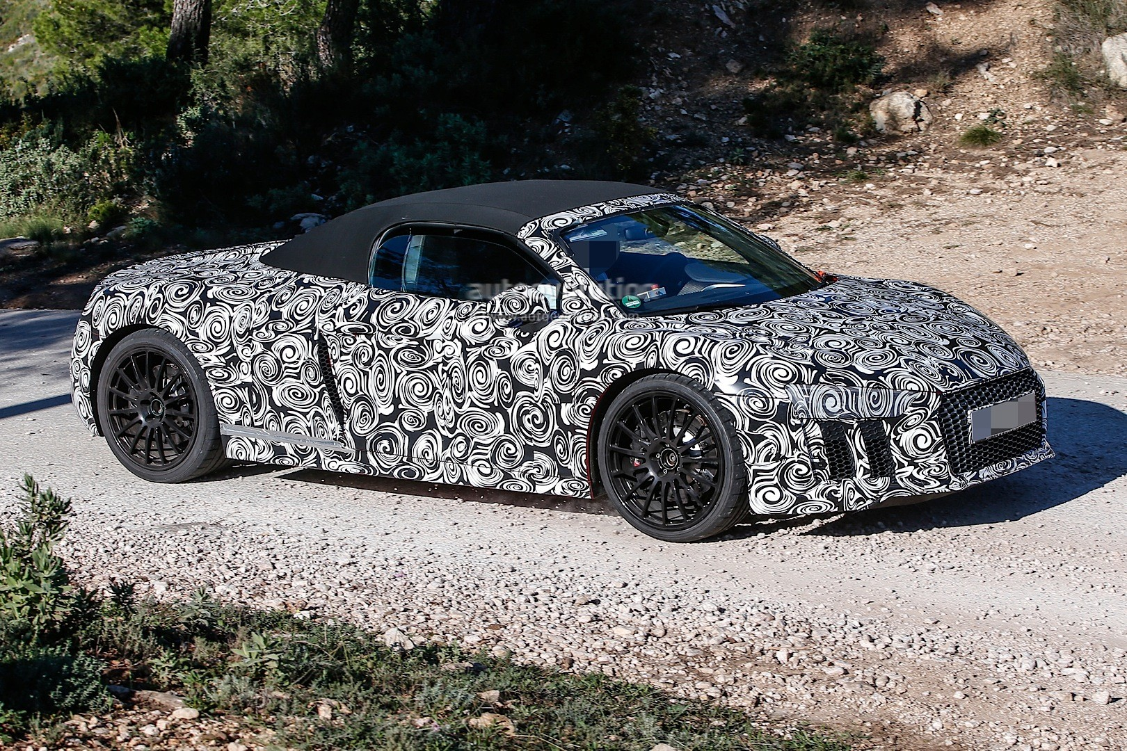 2017 Audi R8 Spyder Spied In Full Camo Funny Sticker Asks