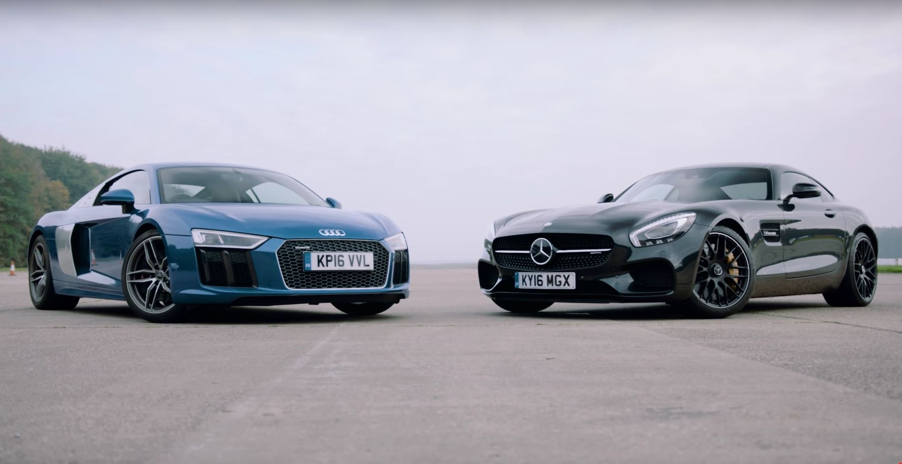 2017 Audi R8 V10 Vs Mercedes Amg Gt S Drag Race Ends With