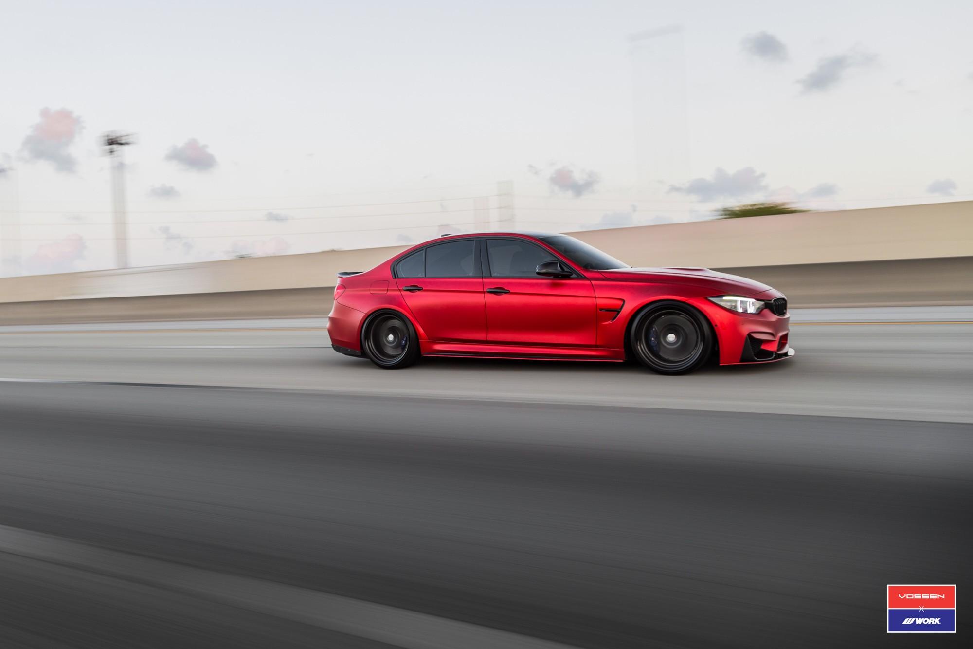 2017 Bmw M3 Facelift In Red Gets Custom Vossen Wheels Autoevolution