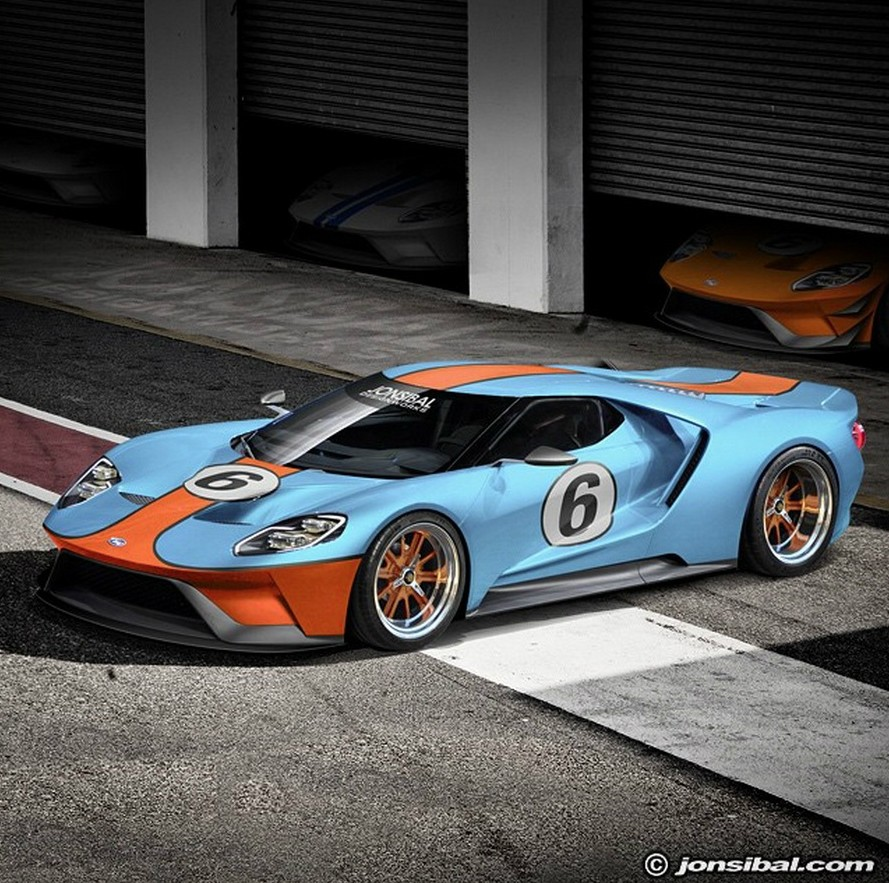 2017 ford gt rendering frenzy leads to gulf oil livery and. Black Bedroom Furniture Sets. Home Design Ideas
