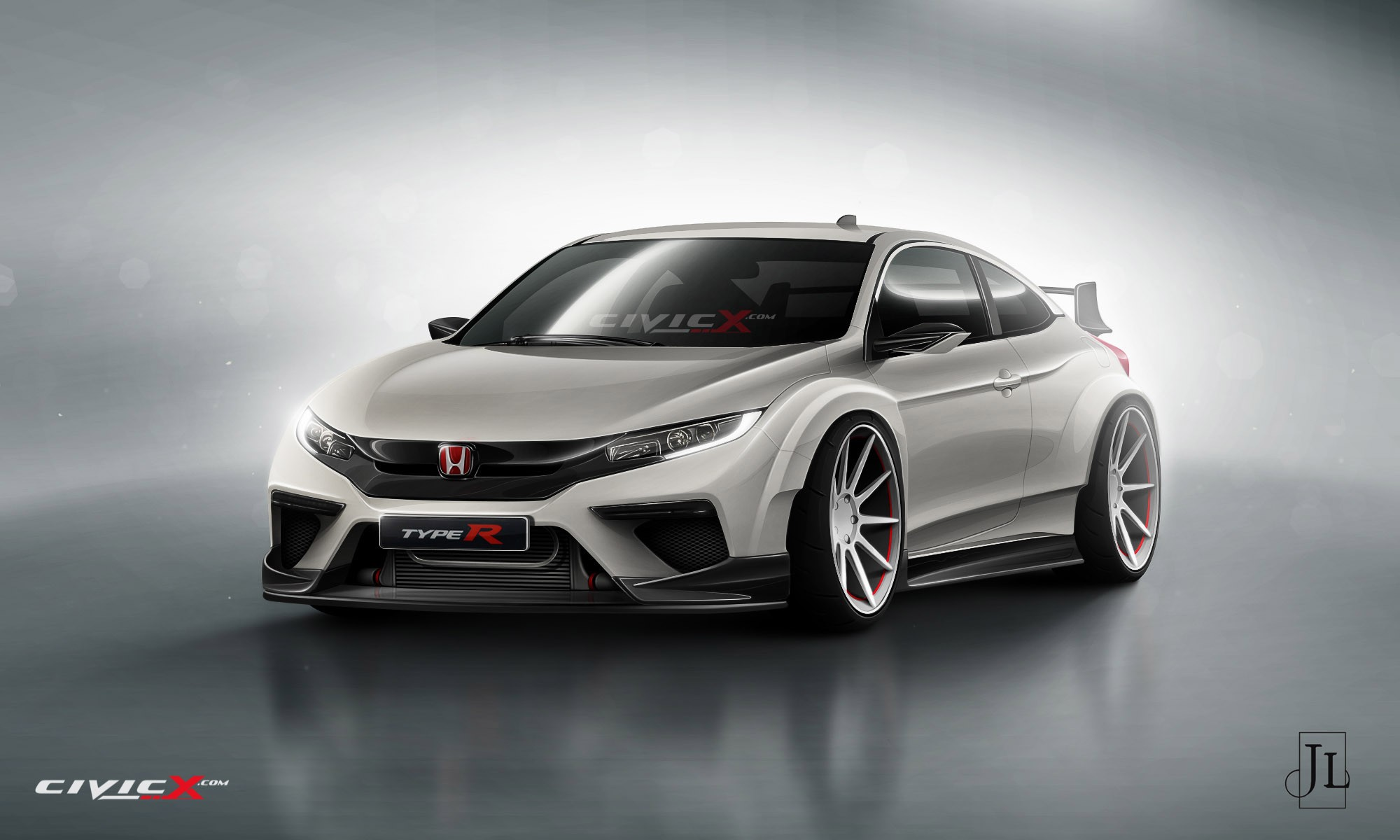 2017 honda civic coupe rendered in vanilla and super hot type r flavors autoevolution. Black Bedroom Furniture Sets. Home Design Ideas