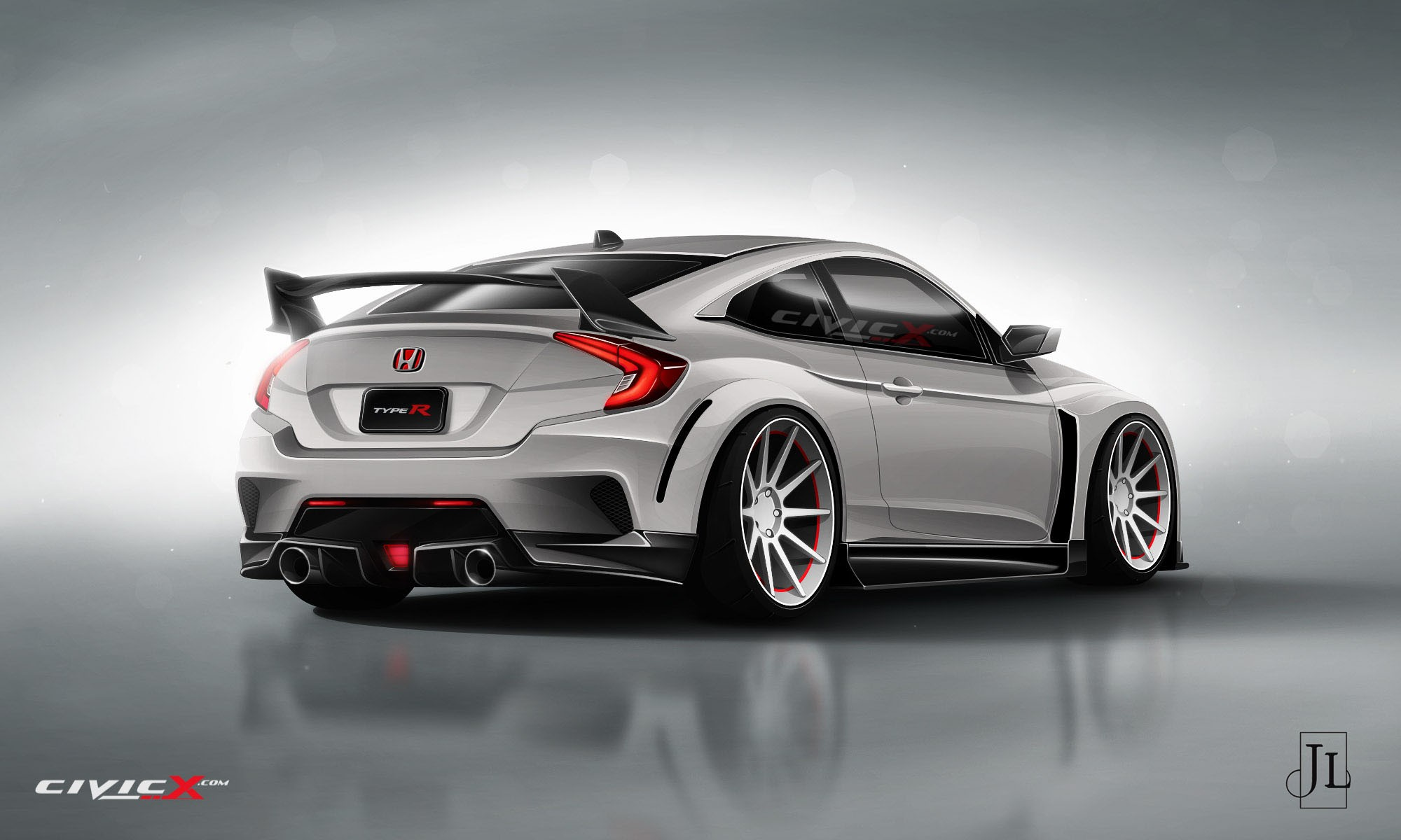 2017 Honda Civic Coupe Rendered in Vanilla and Super-Hot Type R ...