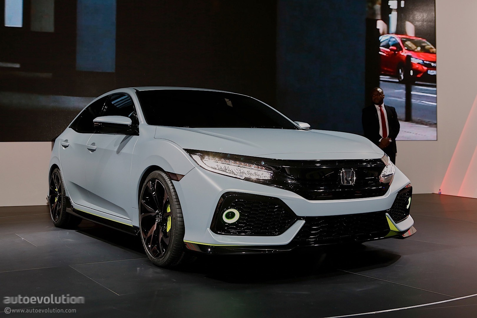 2017 honda civic hatchback previewed by concept in geneva. Black Bedroom Furniture Sets. Home Design Ideas