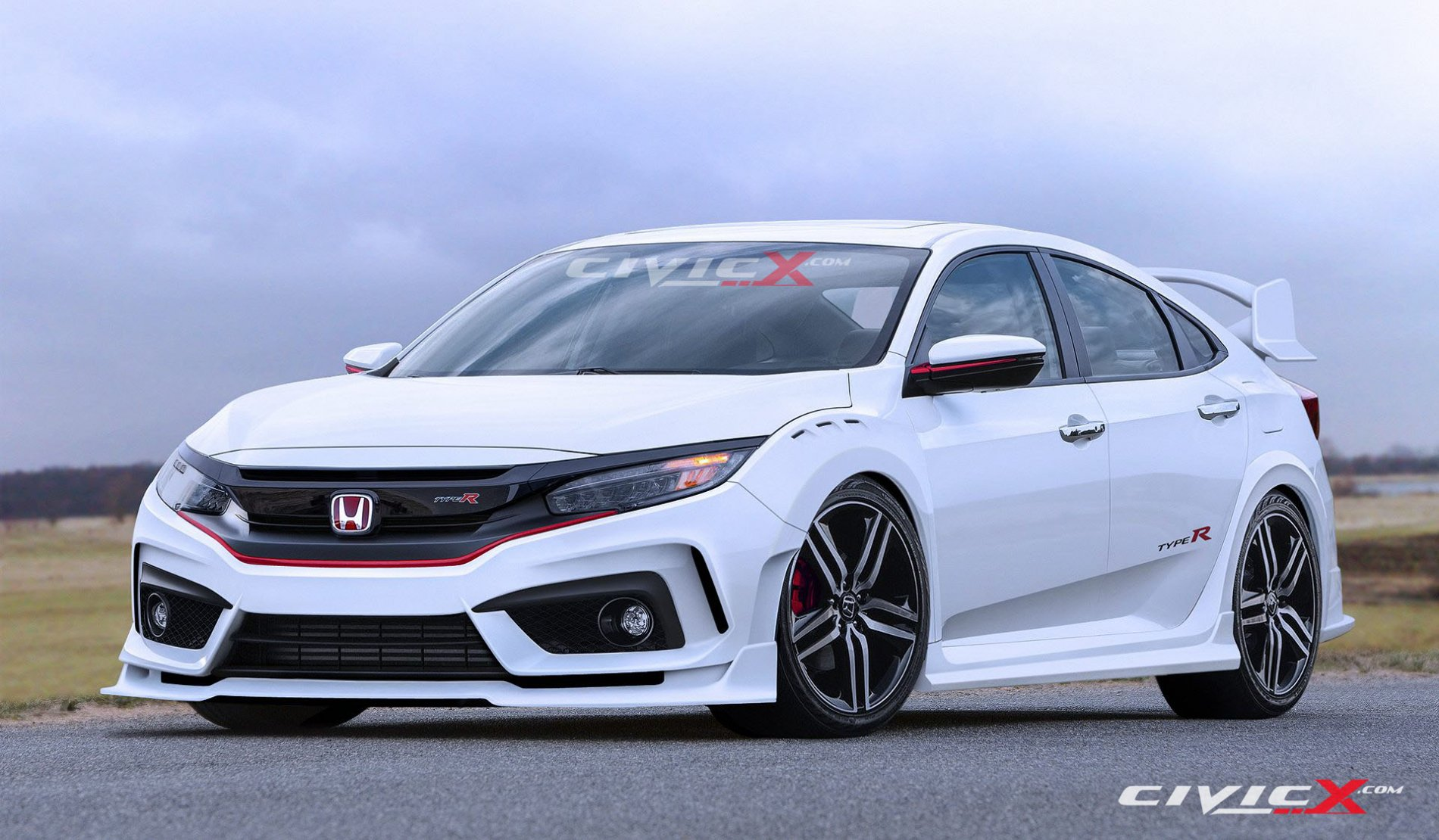 2017 honda civic type r sedan spied in spain with ferrari. Black Bedroom Furniture Sets. Home Design Ideas