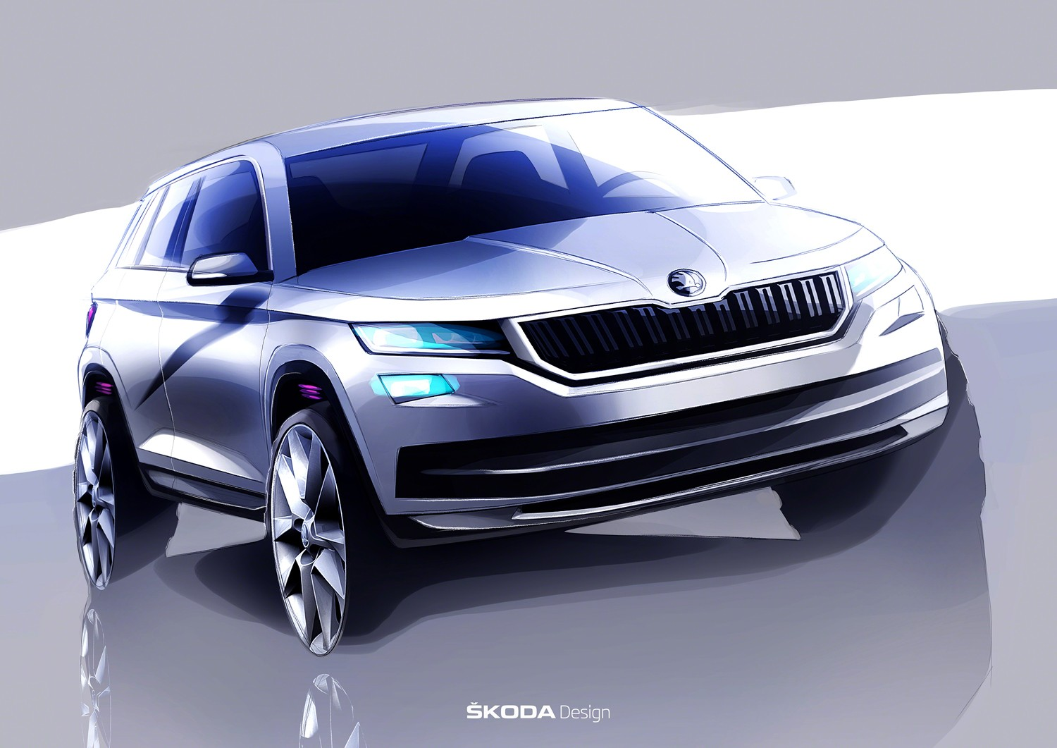 2017 skoda kodiaq teased once again official sketches show great promise autoevolution. Black Bedroom Furniture Sets. Home Design Ideas