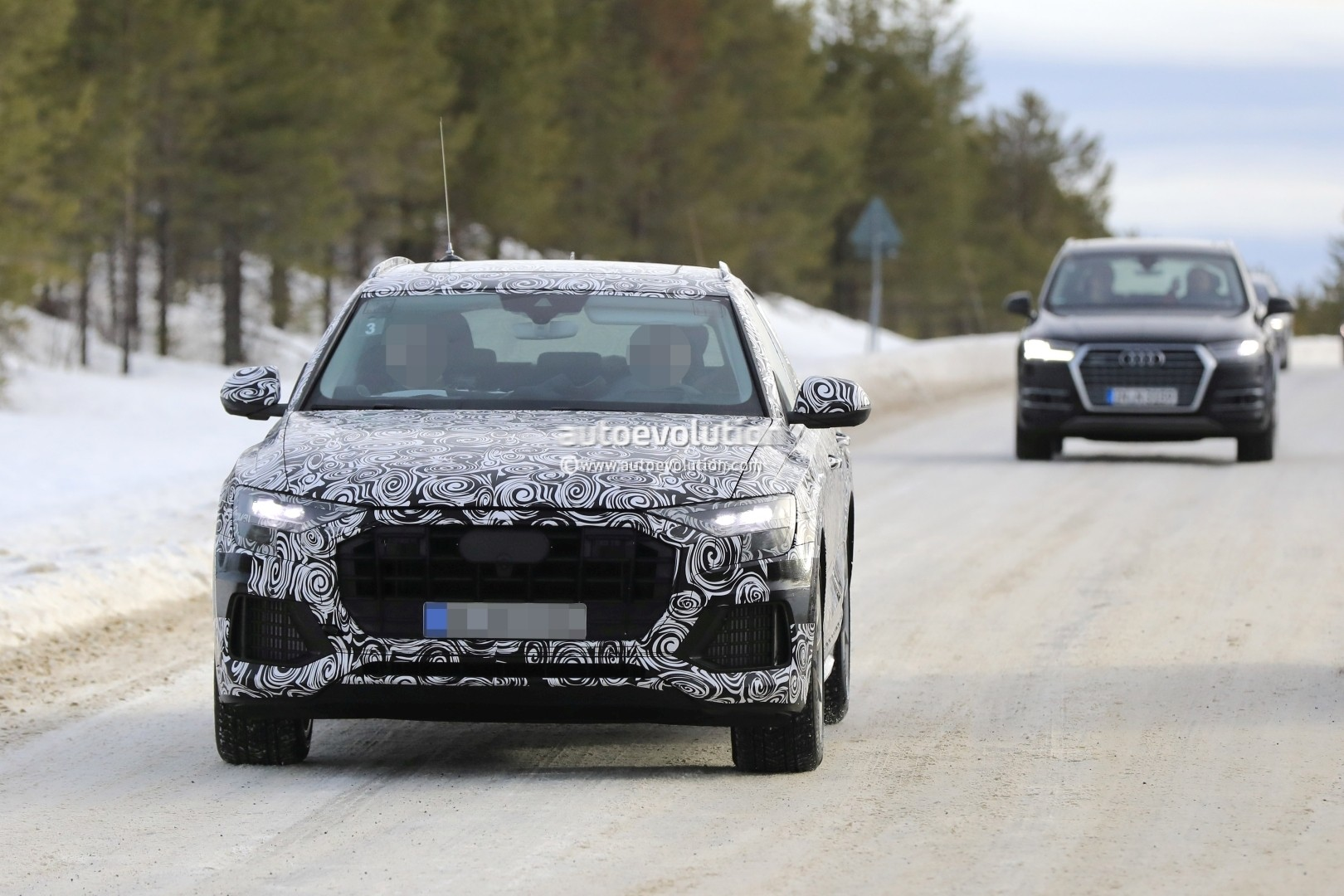 2018 Audi Q8 Seen Testing Alongside Q7 Volvo Xc90 And Bmw