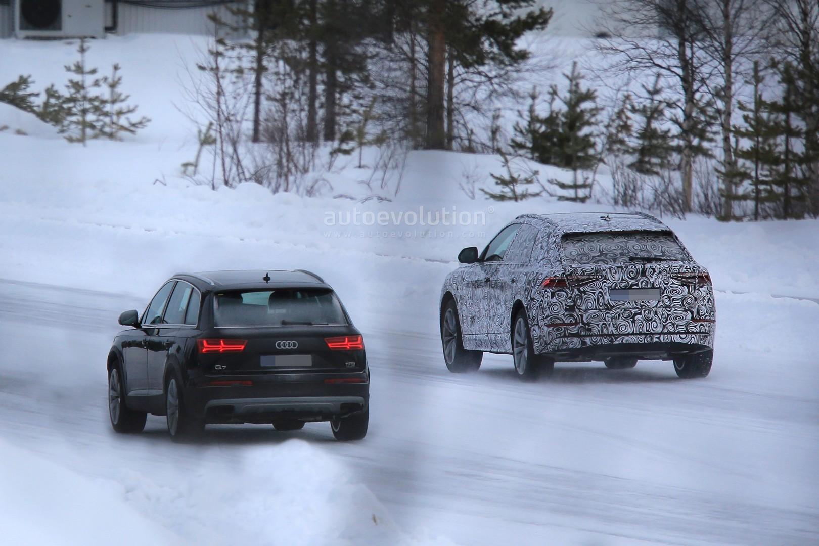 2018 Audi Q8 Vs Q7 Front And Back Spyshots Comparison Autoevolution