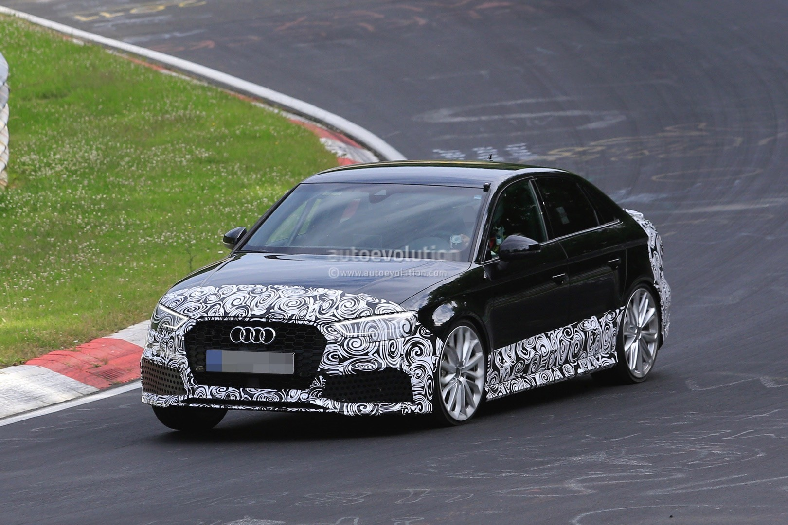2018 audi rs3 sedan spied testing on the nurburgring. Black Bedroom Furniture Sets. Home Design Ideas
