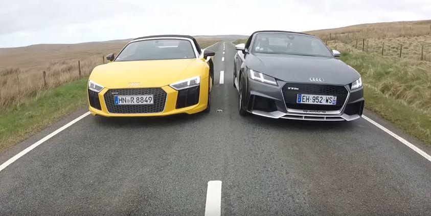 2018 Audi TT RS Roadster vs Audi R8 V10 Spyder Drag Race ...