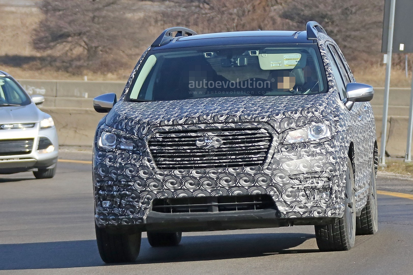 2018 subaru ascent. perfect 2018 2018 subaru ascent 3row crossover suv spied in detail and subaru ascent