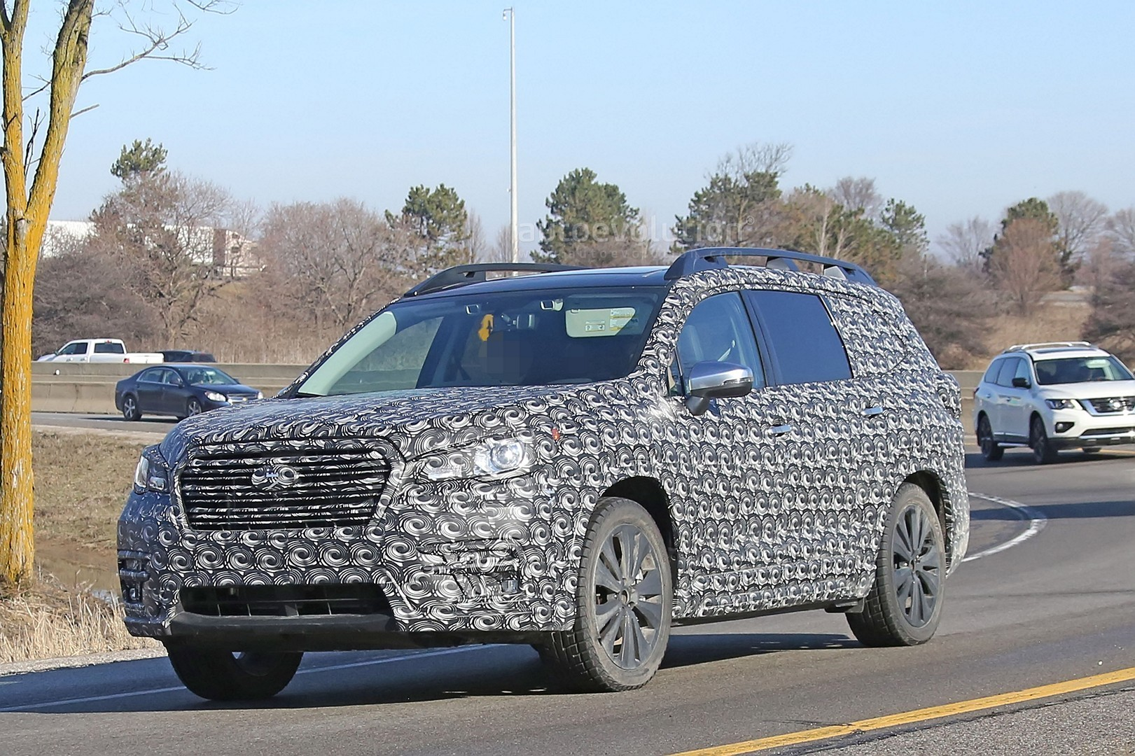 2018 subaru ascent suv. beautiful subaru 2018 subaru ascent 3row crossover suv spied in detail and subaru ascent suv