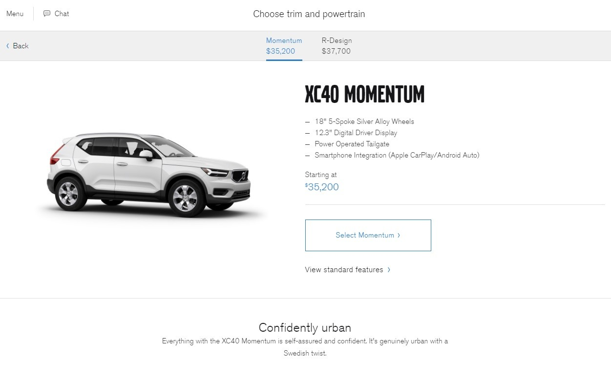 2018 volvo momentum. wonderful 2018 2018 volvo xc40 configurator us  throughout volvo momentum