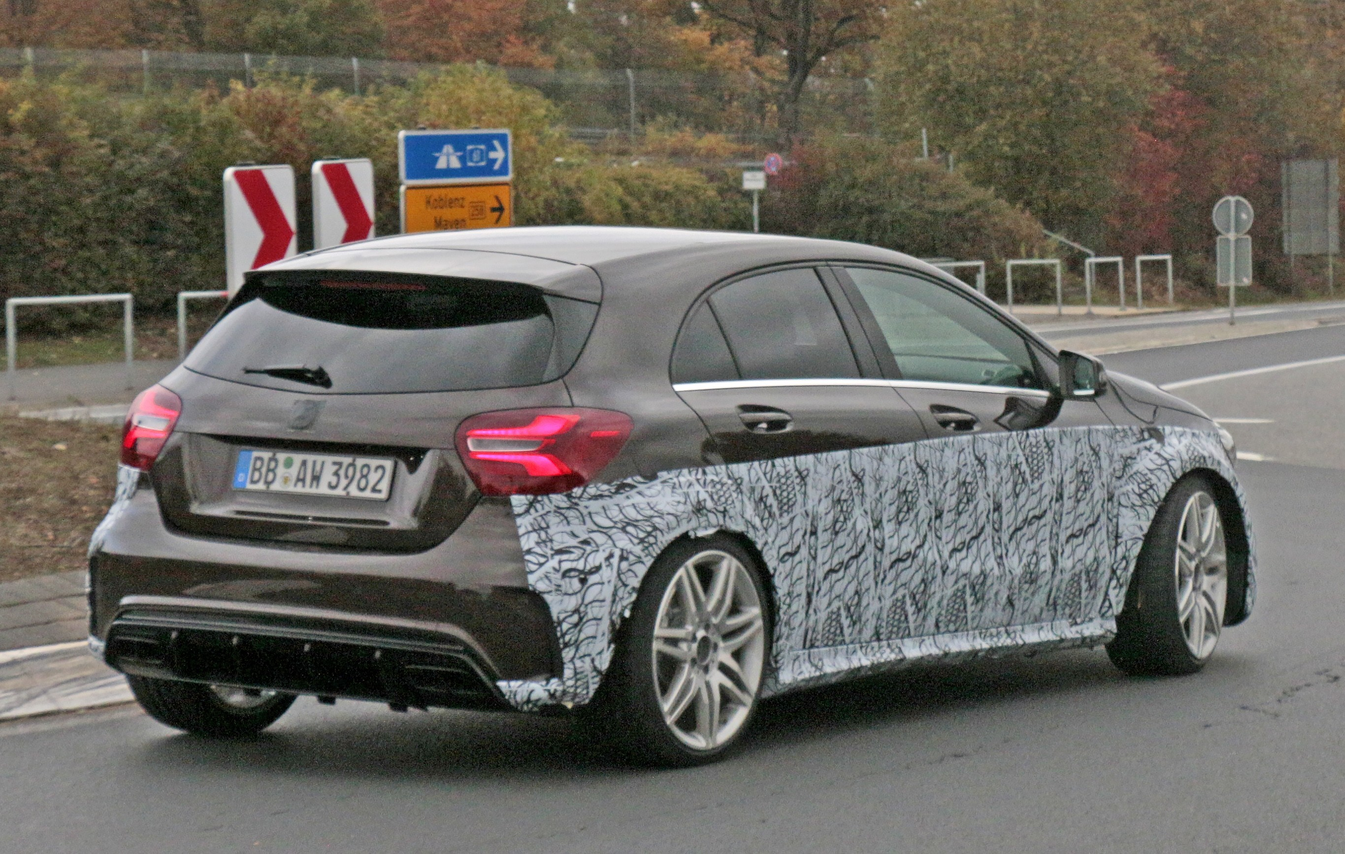 2019 mercedes amg a45 mule spotted hiding in plain sight. Black Bedroom Furniture Sets. Home Design Ideas