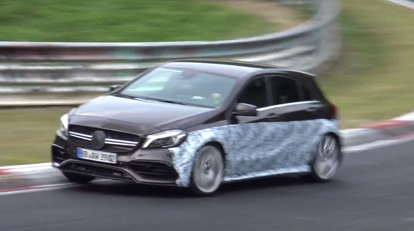2019 mercedes amg a45 test mule takes to the nurburgring with 48v hybrid tech autoevolution. Black Bedroom Furniture Sets. Home Design Ideas