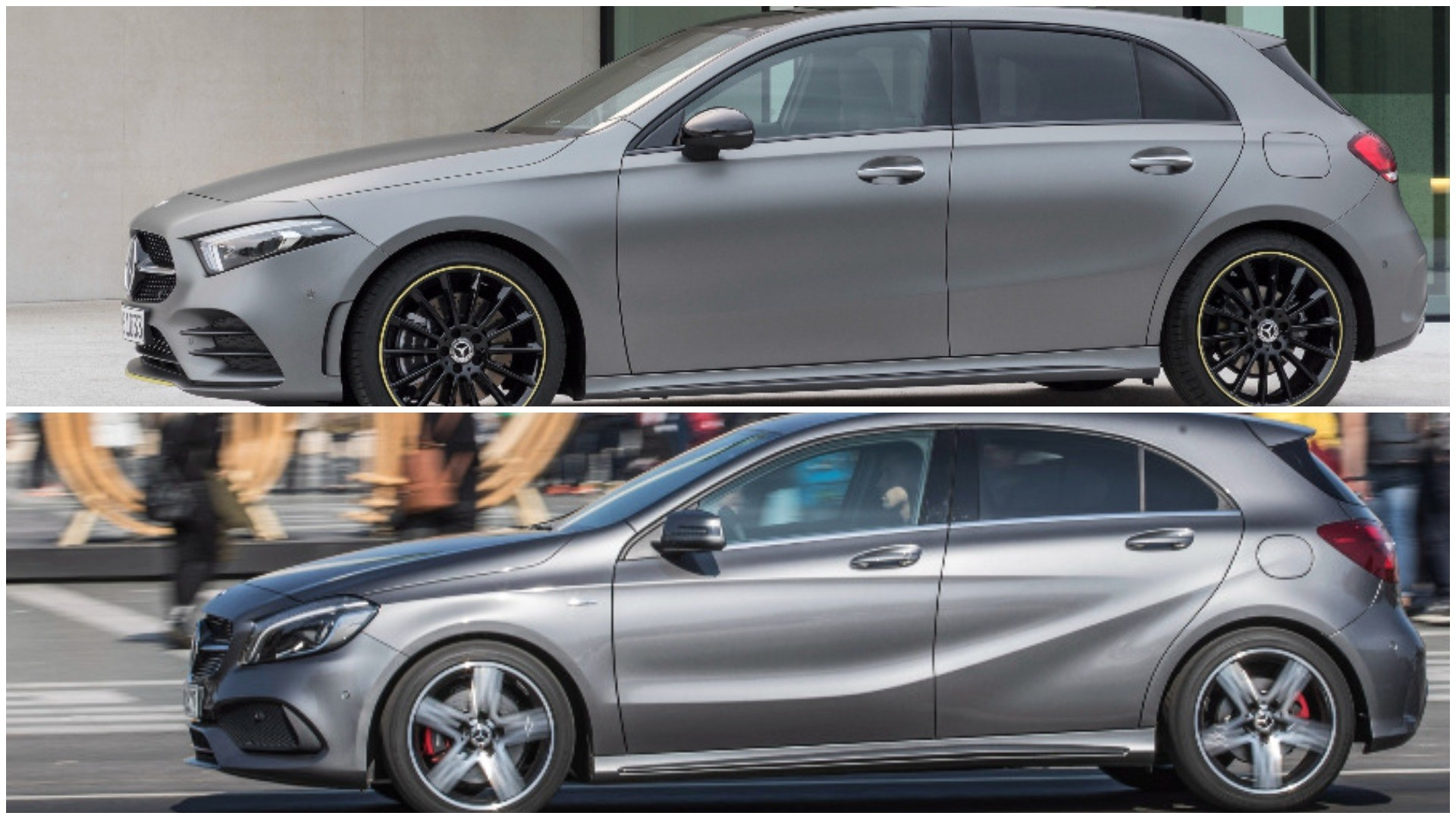 photo comparison 2019 w177 mercedes a class vs old w176 a class autoevolution. Black Bedroom Furniture Sets. Home Design Ideas
