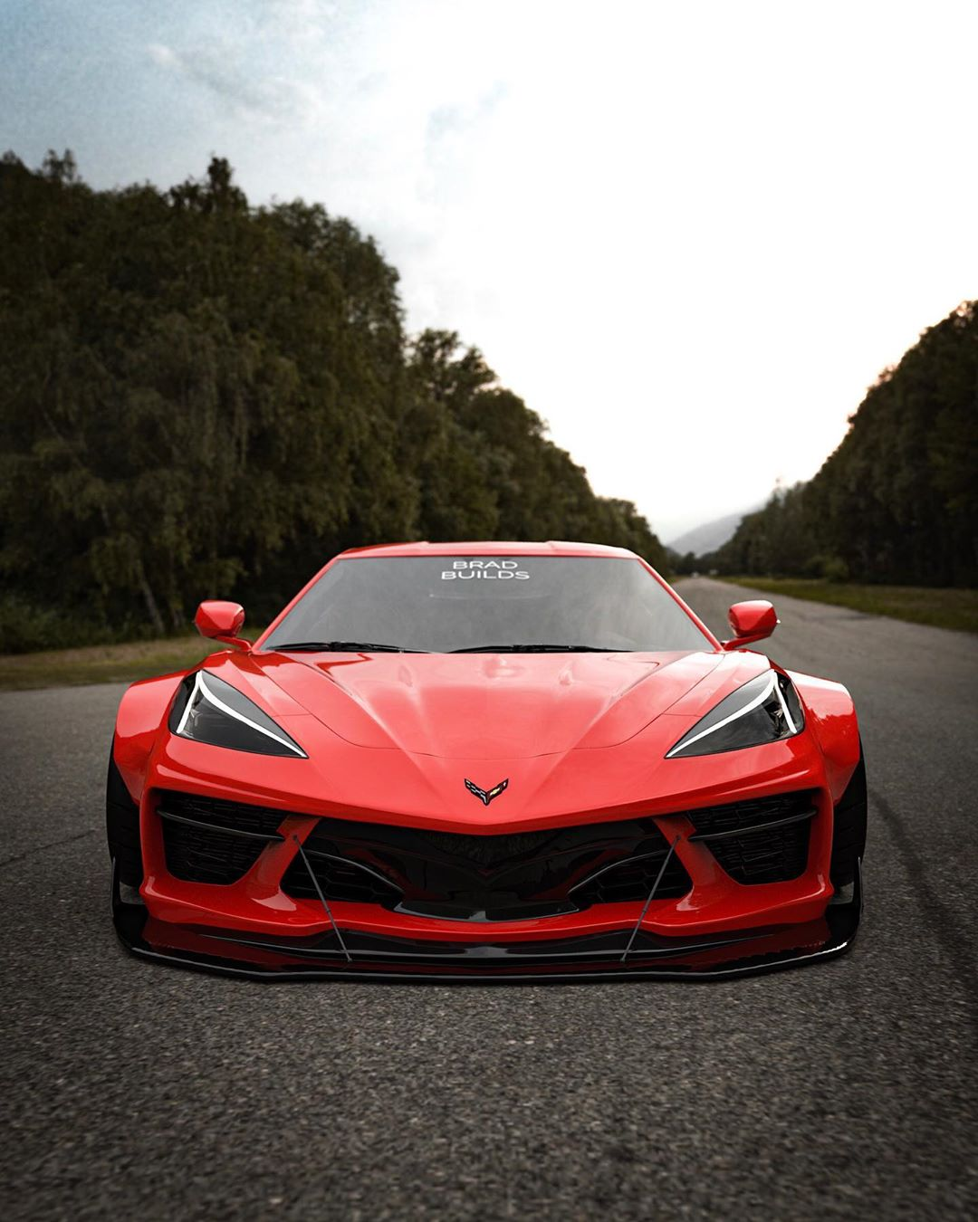 2020 chevrolet corvette c8 rendered with widebody kit