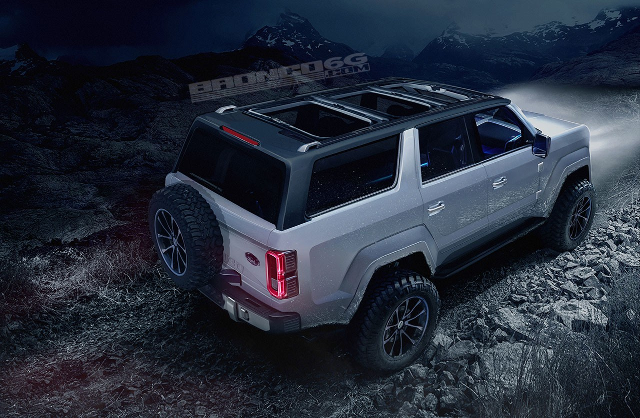 Ford Bronco Shows Jeep Wrangler Proportions Tailgate Mounted Spare Wheel