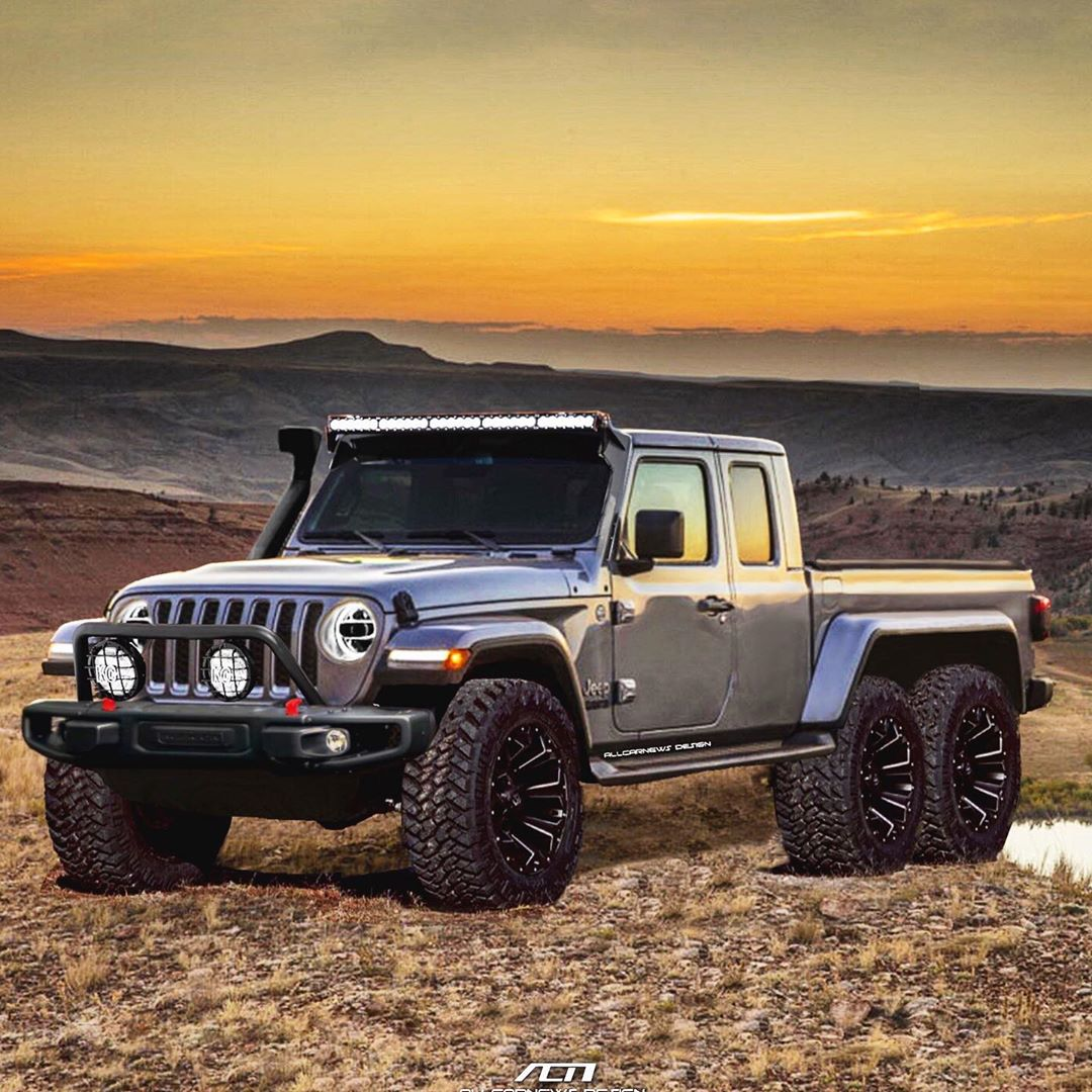 2020 Jeep Gladiator Pickup Truck Rendered As 6x6