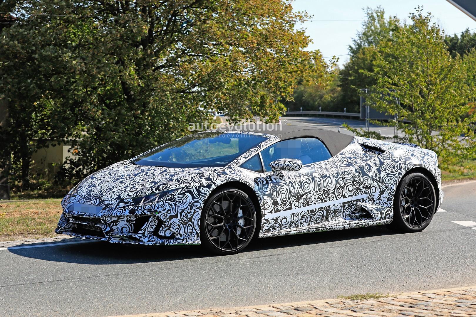 2020 Lamborghini Huracan Spyder Facelift Makes Spyshots Debut - autoevolution