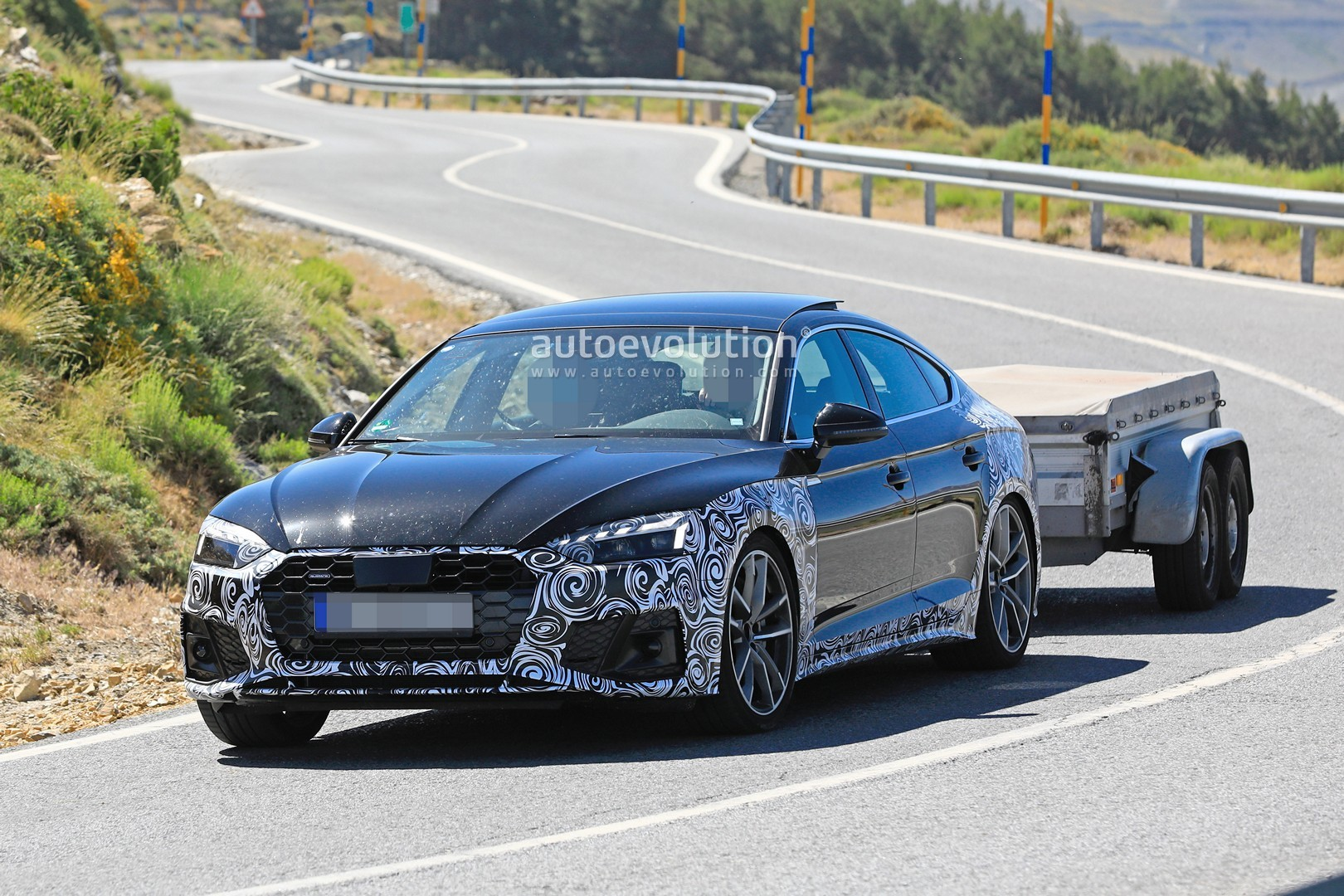 2021 audi a5 sportback facelift spied with giant fake