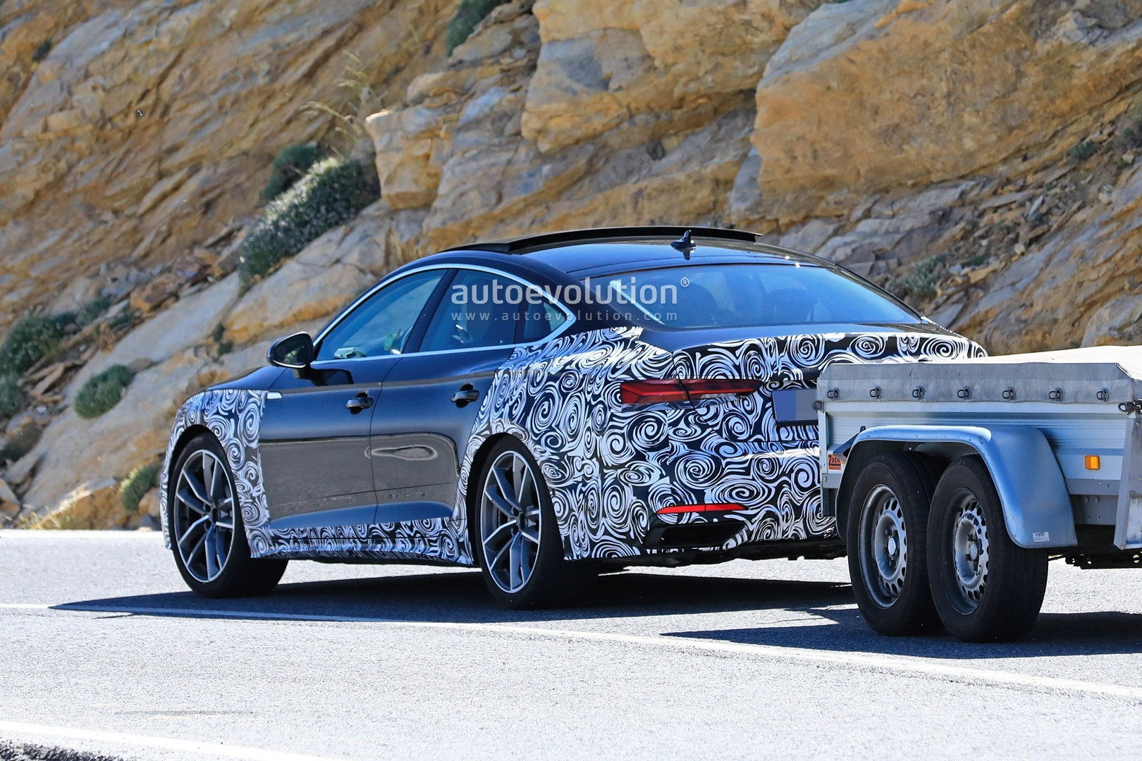2021 Audi A5 Sportback Facelift Spied With Giant Fake ...