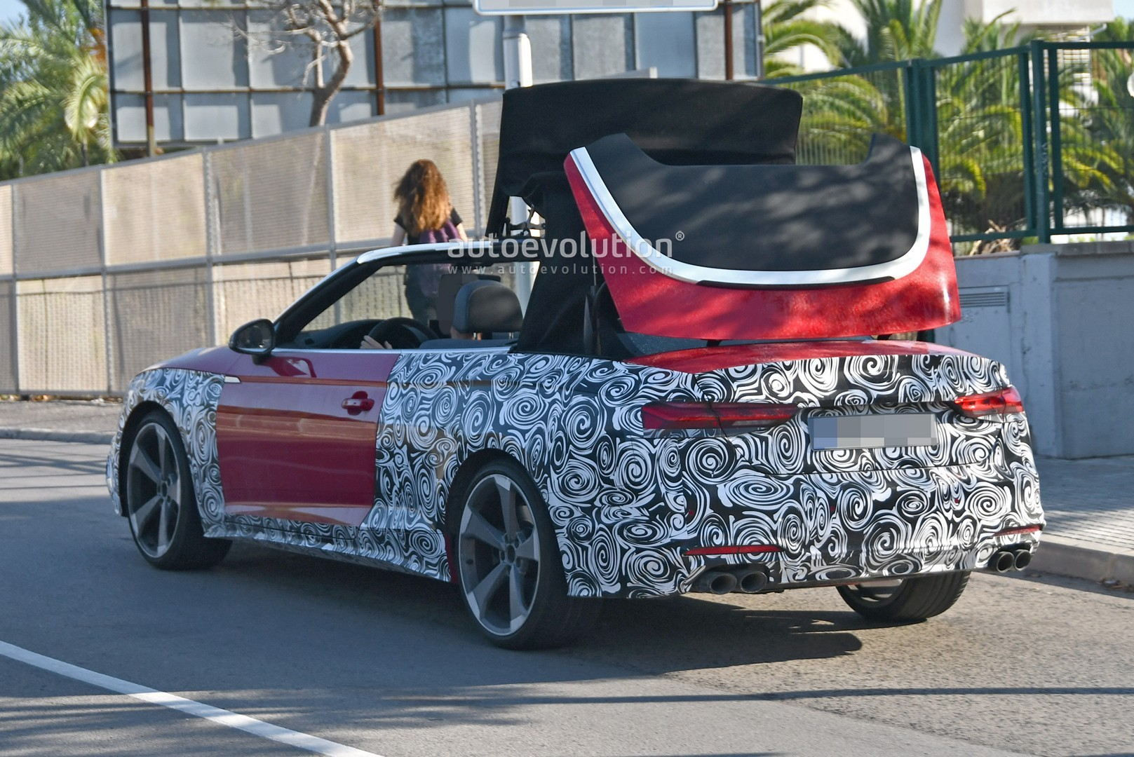 2021 audi s5 facelift spied with cabrio top in action