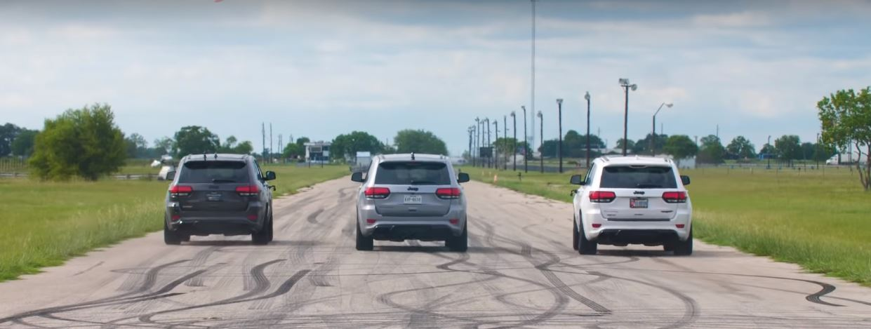 Three Way Jeep Grand Cherokee Trackhawk Drag Race ...
