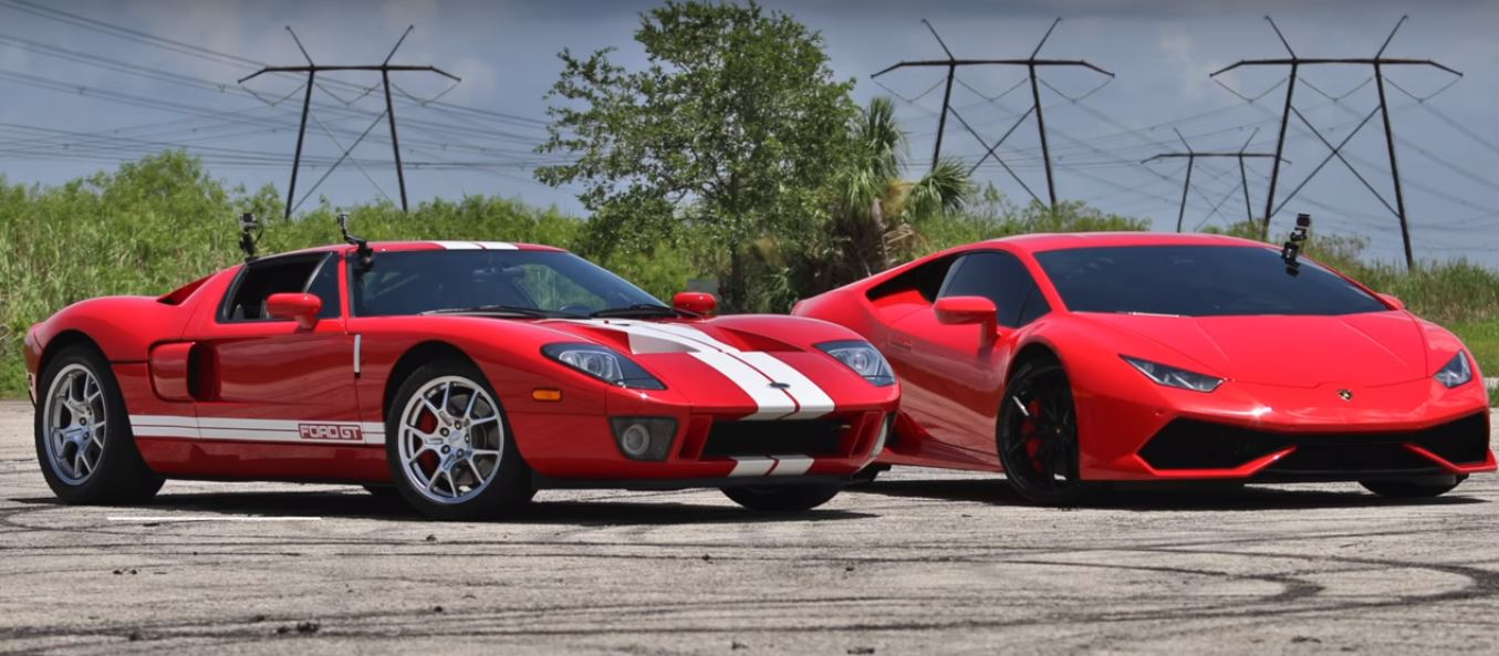 Hp Ford Gt Drag Races Lamborghini Huracan