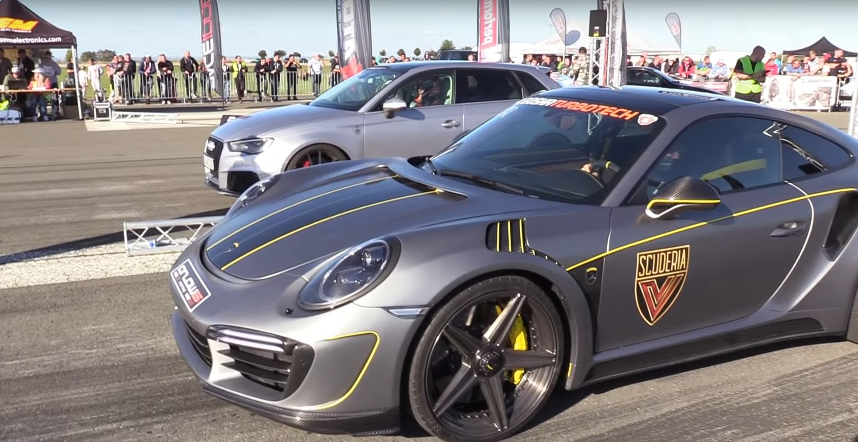 900 Hp Porsche 911 Turbo Races 640 Hp Golf R Gives It A Head Start