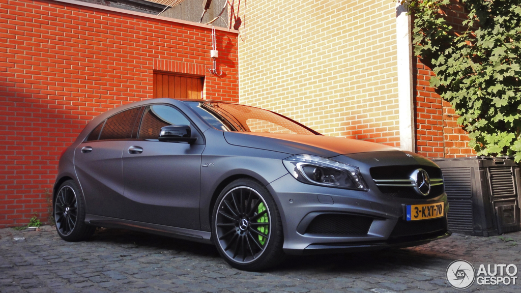 A 45 Amg In Matte Grey With Acid Green Calipers