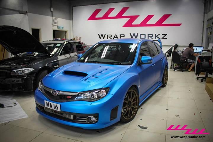 Matte Blue Metallic Subaru Sti