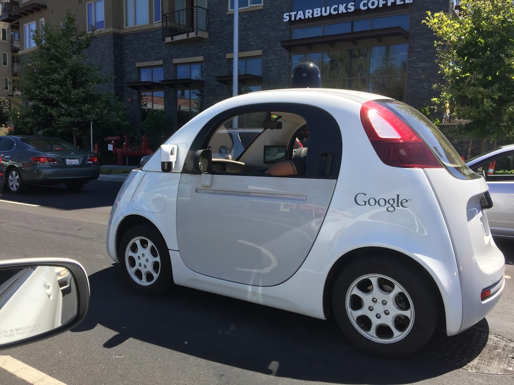 adorable google self driving car spotted on multiple occasions with no steering wheel. Black Bedroom Furniture Sets. Home Design Ideas