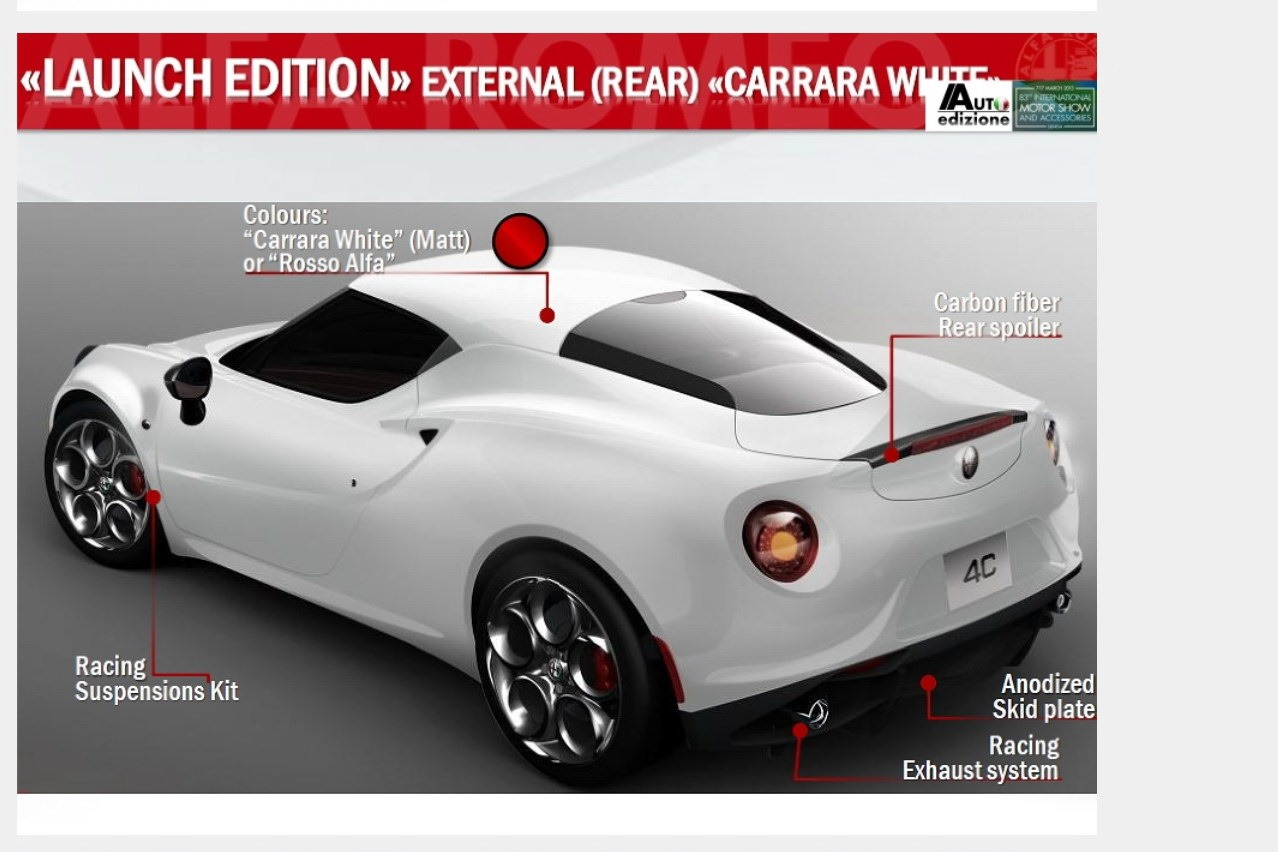 Alfa romeo 4c carrara white 12