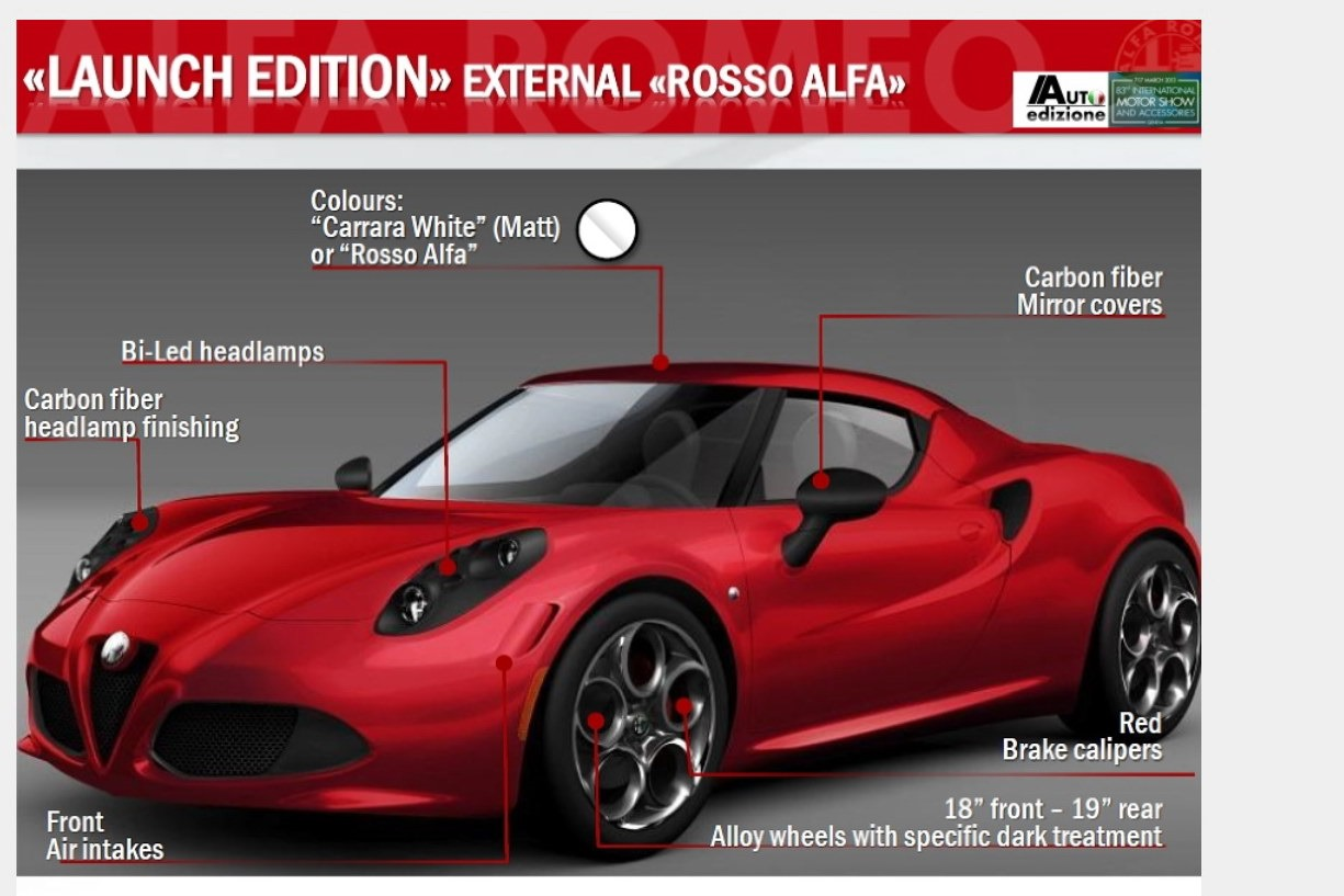 alfa romeo 4c full specs revealedleaked brochure - autoevolution