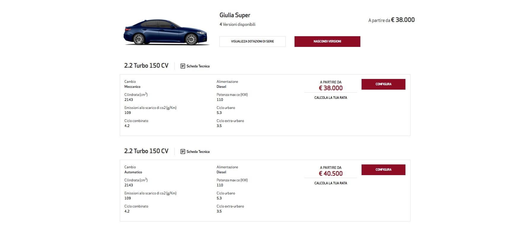 alfa romeo giulia price starts at  u20ac35 500  giulia