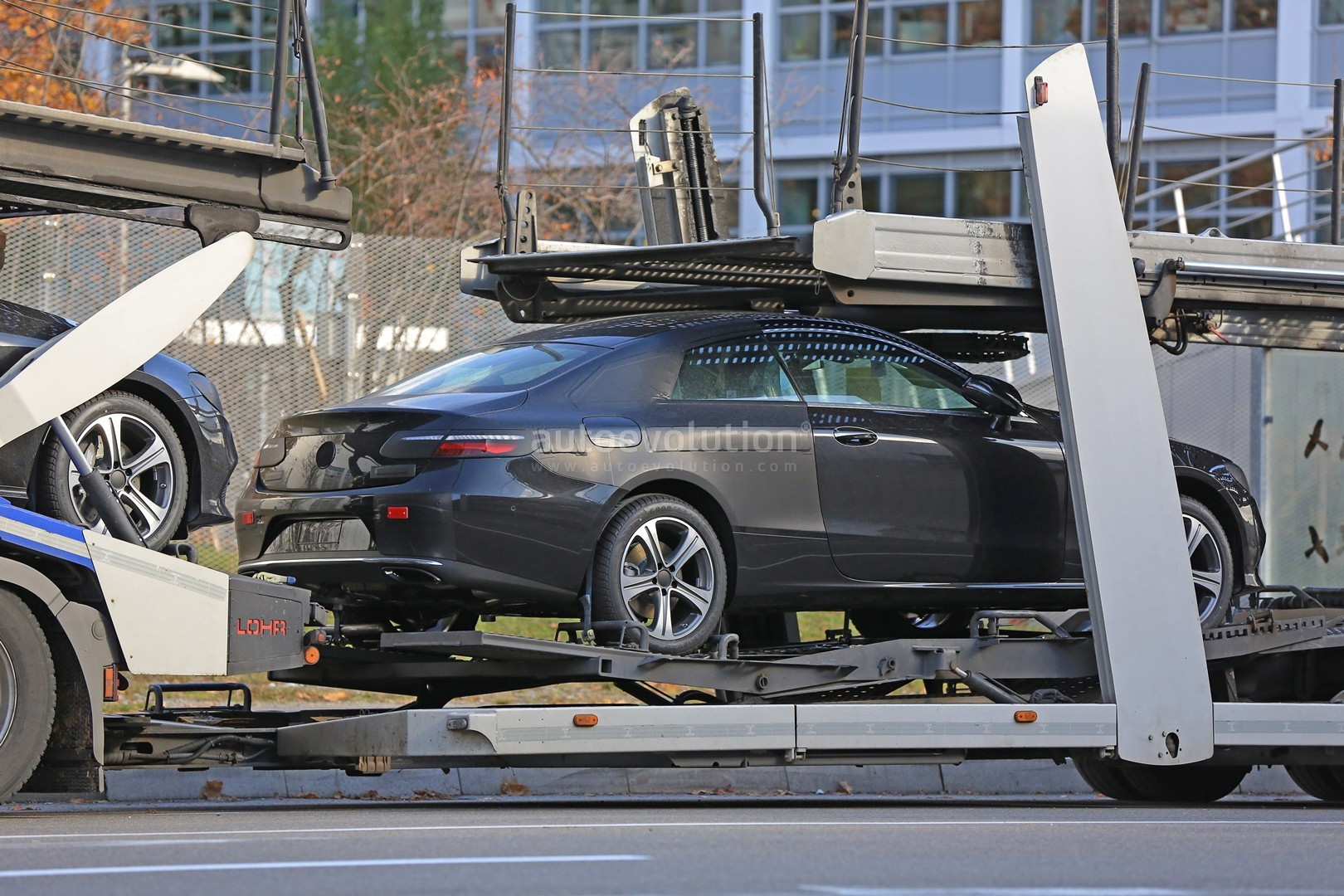 2018 EClass Coupe Spied Nearly Undisguised on Trailer in Germany