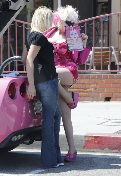 Angelyne Seen Selling Stuff Out Of Her Pink Corvette C7 S