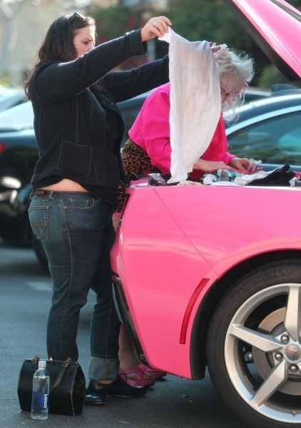 Angelyne Seen Selling Stuff Out Of Her Pink Corvette C7 S Trunk Autoevolution