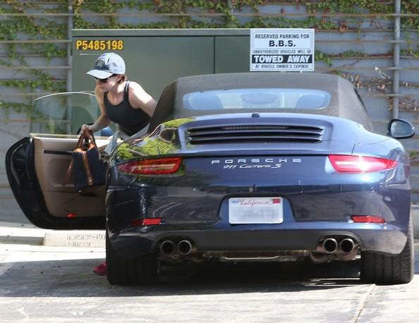 Anne Hathaway Seen Driving Her Porsche 911 Carrera S To