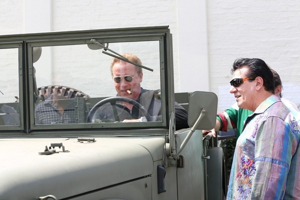 Arnold Schwarzenegger And Sylvester Stallone Seen Driving